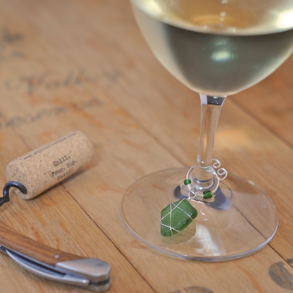 Diy Wine Charms Wire Wrapped Sea Glass