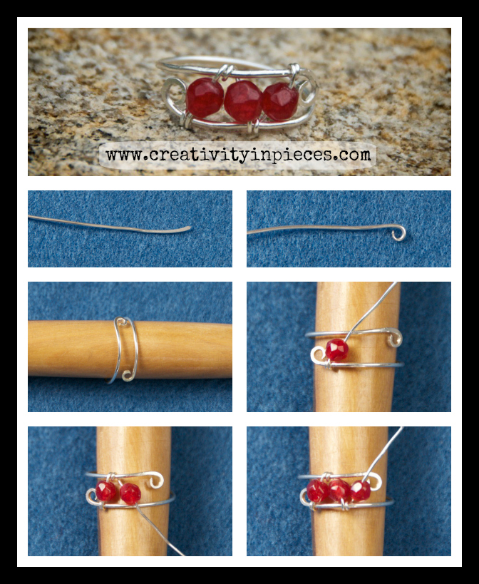 How to make a wire ring with beads - a free tutorial